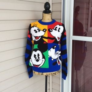 VINTAGE DISNEY MICKEY MOUSE COLOR BLOCK SWEATER